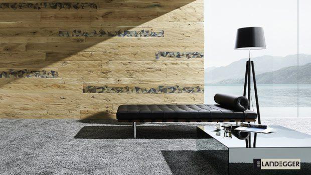 Schöne Holzdiele aus Eiche mit einer gehackten Oberfläche